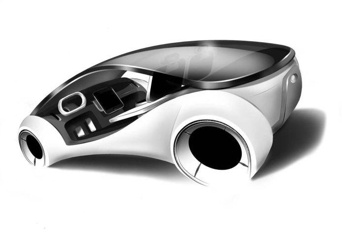 Ontwerpschets voor de zelfrijdende auto die Apple aanvankelijk wilde ontwikkelen