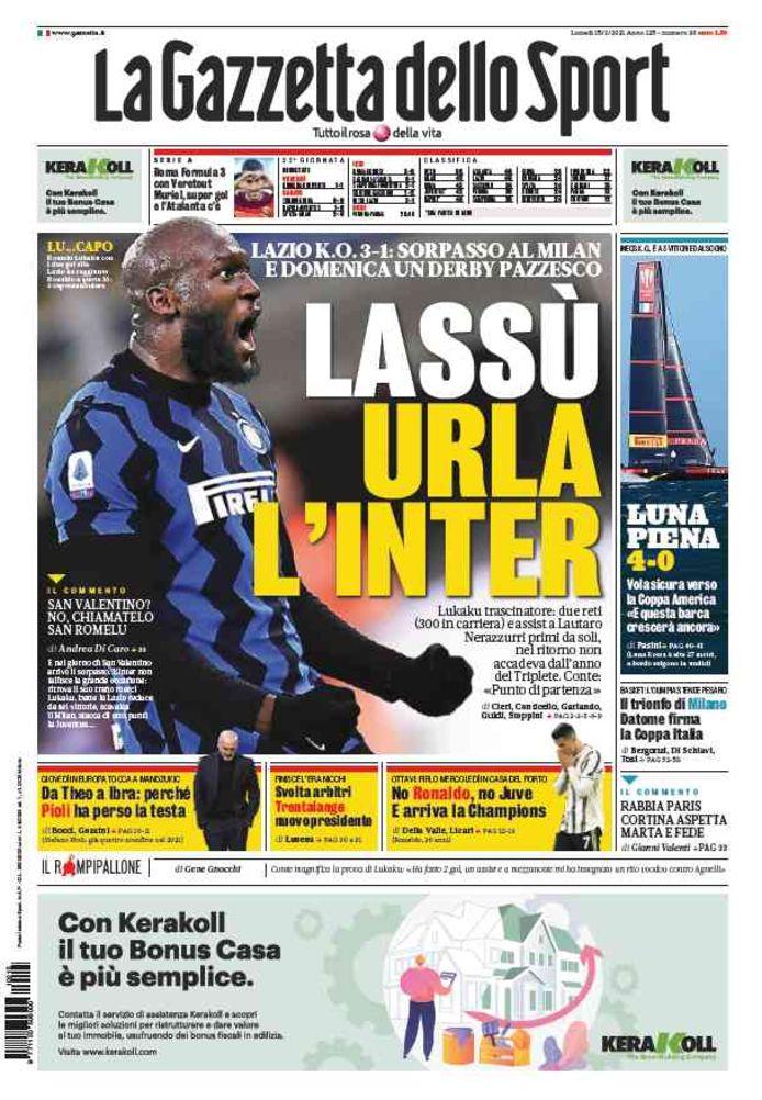 """Gazzetta dello Sport over Lukaku. """"Inter schreeuwt aan de top"""", kopt het."""