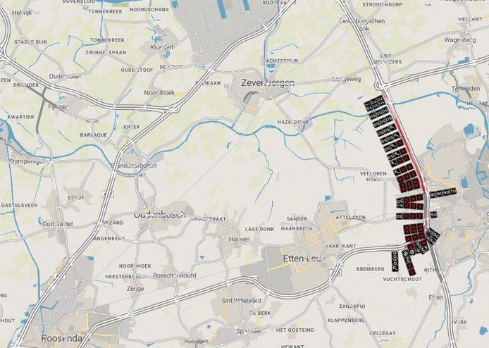 De situatie op de A16/A58 rond 18.25 uur