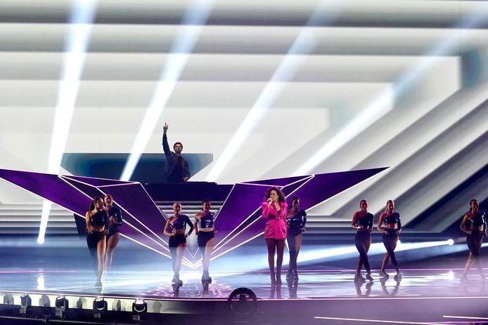 Rotterdam - Finale Eurovisie songfestival in Ahoy. Op foto: Glennis Grace en Afrojack