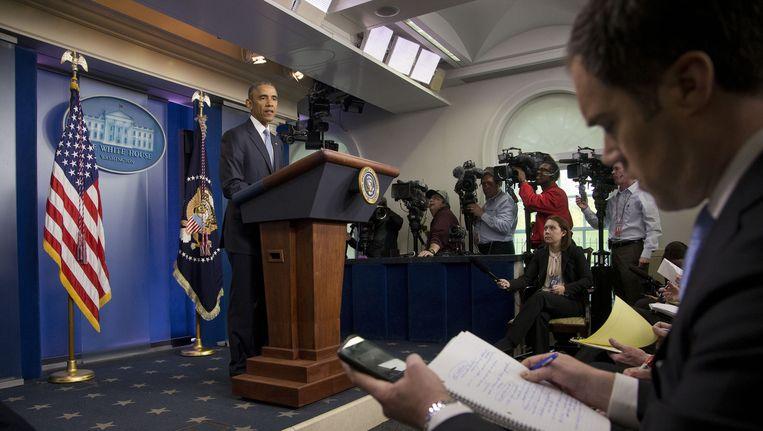 President Obama tijdens de perconferentie in het Witte Huis. Beeld ap