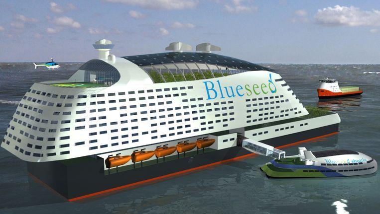 Ontwerpen van het schip van Blueseed. Beeld ap