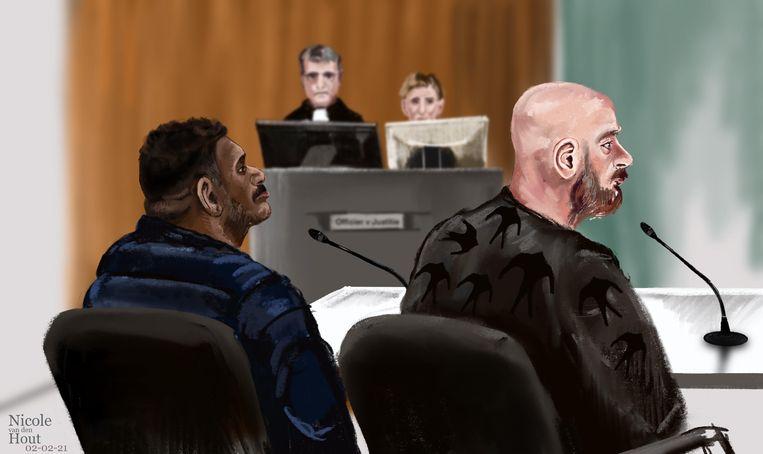 Rechtbanktekening van Rosello van T. (46, l) en Patrick van M. J. (35).  Beeld ANP