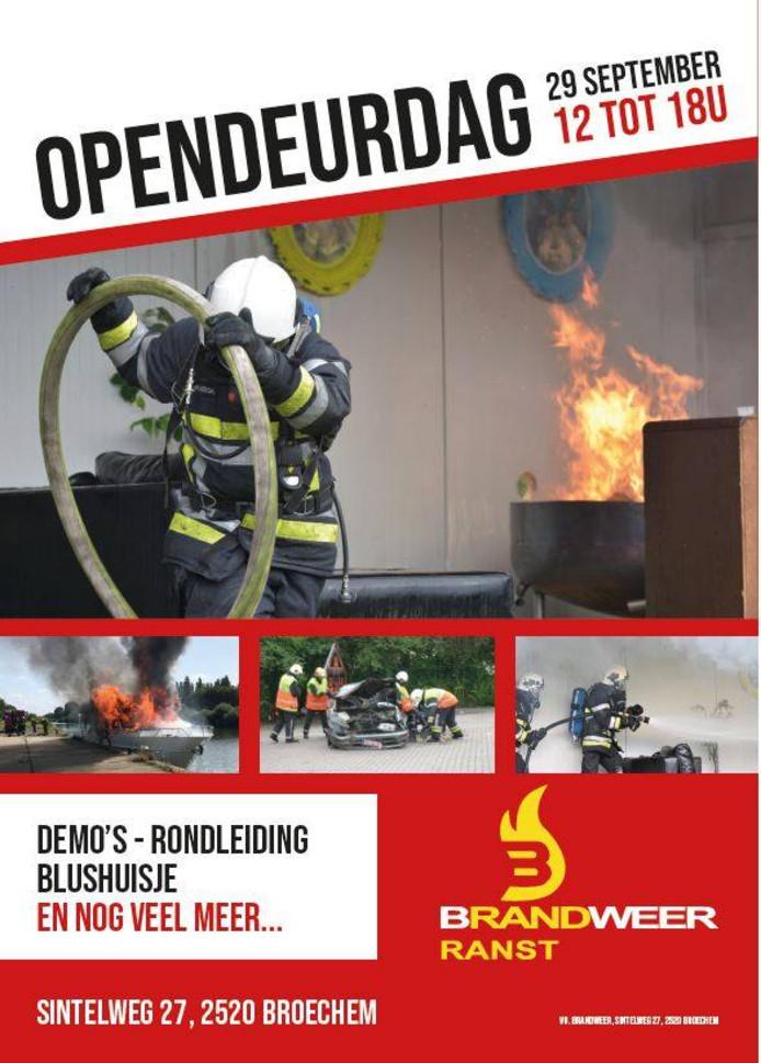 De poster voor de opendeurdag van de brandweer van Ranst