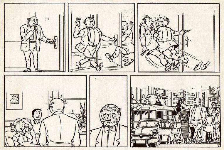 Inde orginele schetsen van 'De sonometer'is Lambik nog de beschaafde stripfiguur die Hergé voor zijn stripweekblad 'Tintin/Kuifje' eiste.  Beeld RV