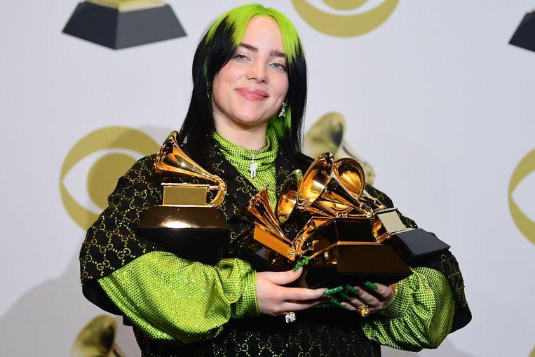 Billie Eilish. Het debuutalbum van de zangeres (18) kreeg vijf Grammy's. Beeld AFP