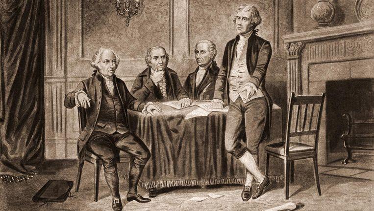 Vier van de Founding Fathers in 1774, van links af John Adams, Robert Morris, Alexander Hamilton en Thomas Jefferson. Beeld getty