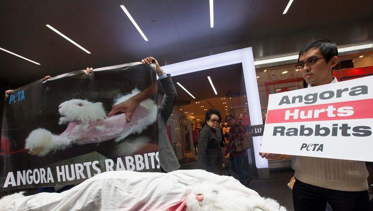 Protest in Hong Kong tegen het levend villen in China van angorakonijnen. Beeld EPA