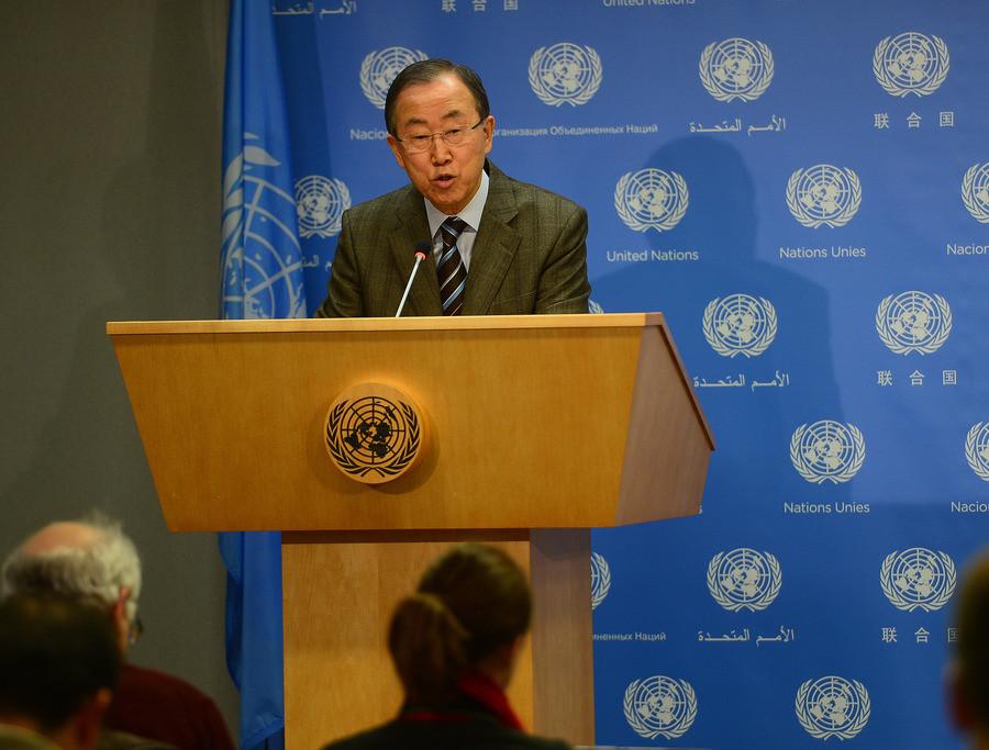 Secretaris-generaal van de VN Ban Ki-moon spreekt vandaag over de vredesconferentie over Syrië.