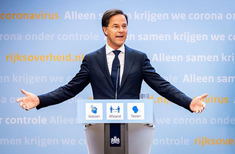 Demissionair premier Mark Rutte tijdens de persconferentie vrijdagavond. Beeld Hollandse Hoogte /  ANP