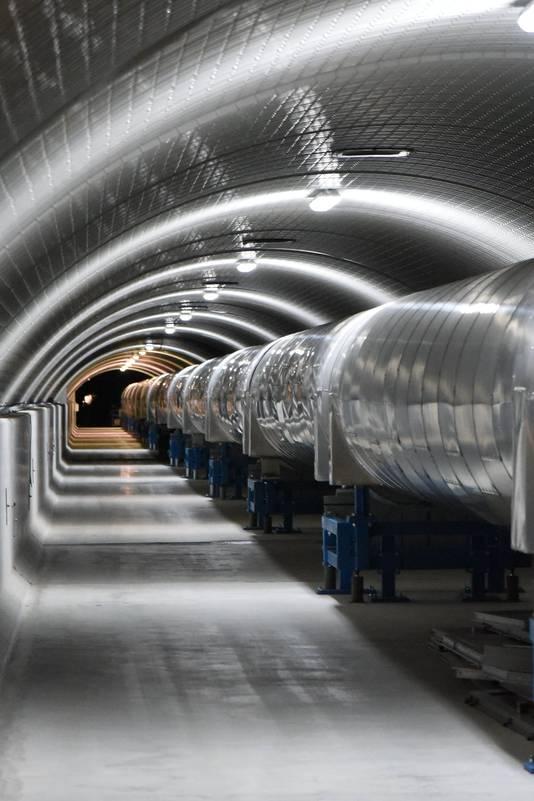 Een detector van VIRGO in Toscane, vergelijkbaar met LIGO, om zwaartekrachtgolven te meten.