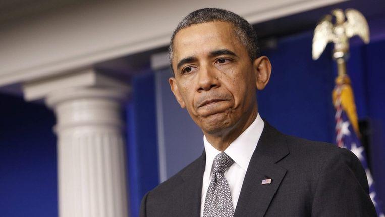 President Obama dinsdag tijdens een persconferentie over de aanslag in Boston Beeld ANP
