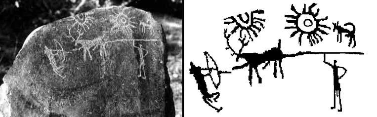 Links de rotstekening, rechts een schets.  Beeld Vahia/Tata Reseach Institute