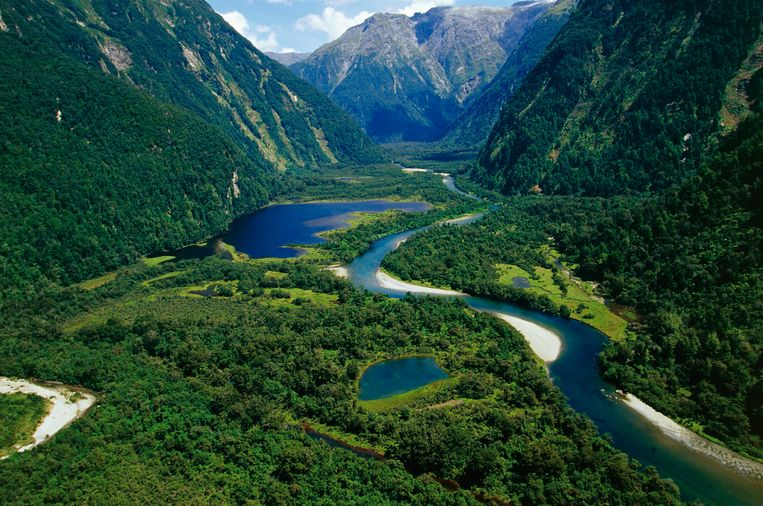 New Zealand, South Island, Te Wahipounamu, Fiordland National Park, Milford Track, river Arthur.  Beeld De Agostini via Getty Images