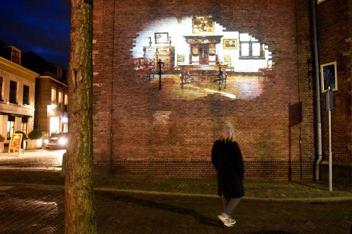Lichtkunstwerk van kunstenaar Ruben van Esterik op de zijgevel van het Stadsmuseum.