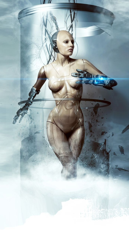 beautiful woman robot smashes glass flask, cyborg, laser