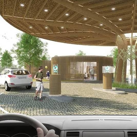 Artists impression van toekomstig waterstof tankstation in Nijmegen