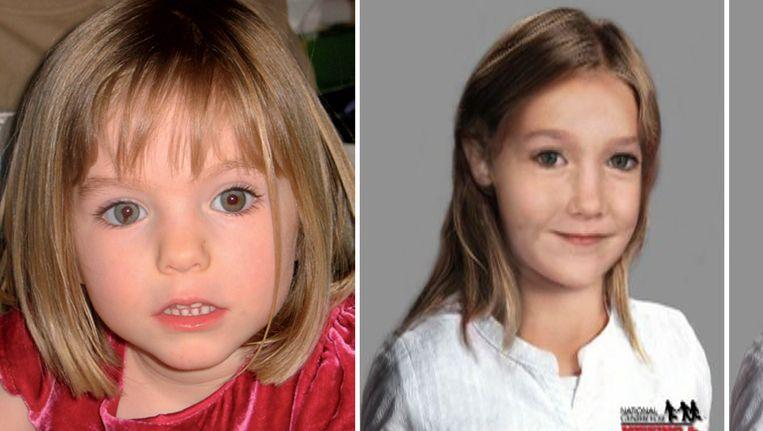 Compilatie van hoe Maddie was toen ze verdween (links) en hoe ze er nu uit zou kunnen zien (rechts). Beeld AFP