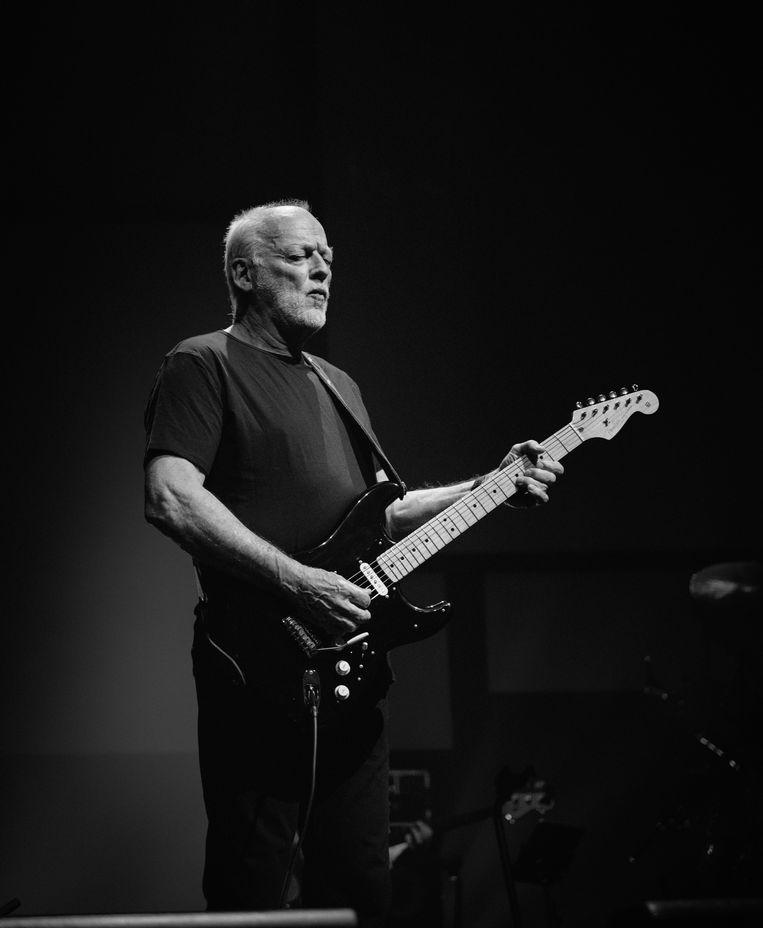 Pink Floyd-gitarist David Gilmour tijdens het tribute-concert in het Londense Palladium in 2020. 'Hij twijfelde zelfs of hij wel in staat was om in Peters schoenen te stappen en zijn muziek te vertolken!', zegt Mick Fleetwood. Beeld Ross Halfin