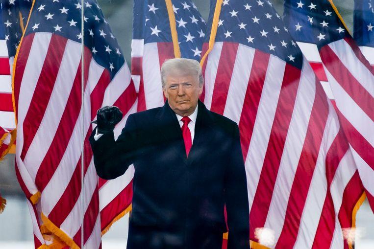 President Trump op zijn bijeenkomst voor aanhangers voor de bestorming op het Amerikaanse Capitool. Beeld EPA