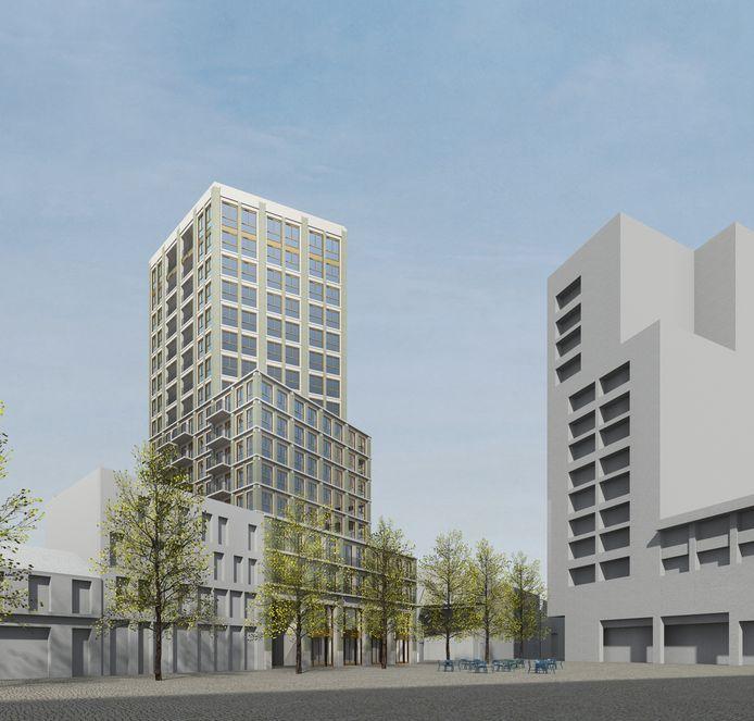 De volumestudie voor de woontoren aan het Pieter Vreedeplein. De gevels worden nog nader uitgewerkt. Rechts de bestaande woontoren.