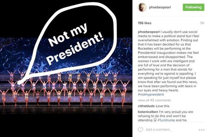 Danseres Phoebe Pearl schreef op haar Instagram dat zij zich schaamde om voor de aanstaande president te moeten dansen. Haar profiel is inmiddels privé gemaakt.