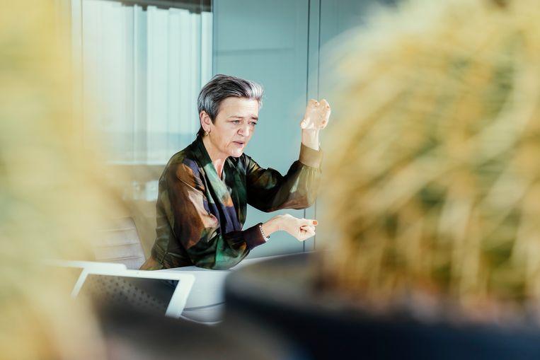 Vicevoorzitter van de Commissie Margrethe Vestager. 'Ons klimaatplan is controversieel, dat besef ik maar al te goed.' Beeld © Stefaan Temmerman