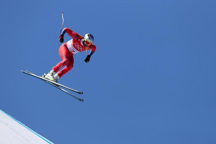 Aksel Lund Svindal op weg naar goud op de afdaling.