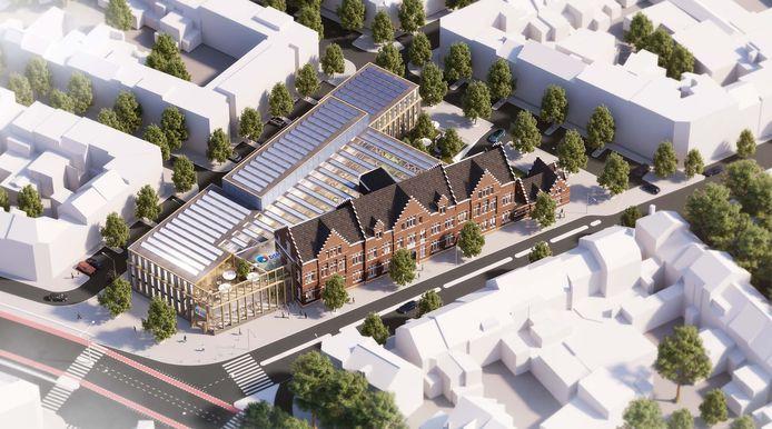Impressie van het beoogde nieuwe hoofdkantoor van DSM in Maastricht. Door geruzie over een provinciale subsidie overweegt het concern nu uit Limburg te vertrekken