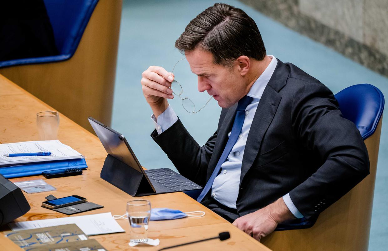 Premier Rutte tijdens een Kamerdebat.