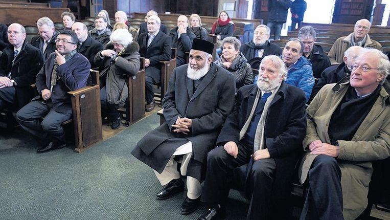 Interreligieuze bijeenkomst in een kerk in Amsterdam-West. Beeld ANP