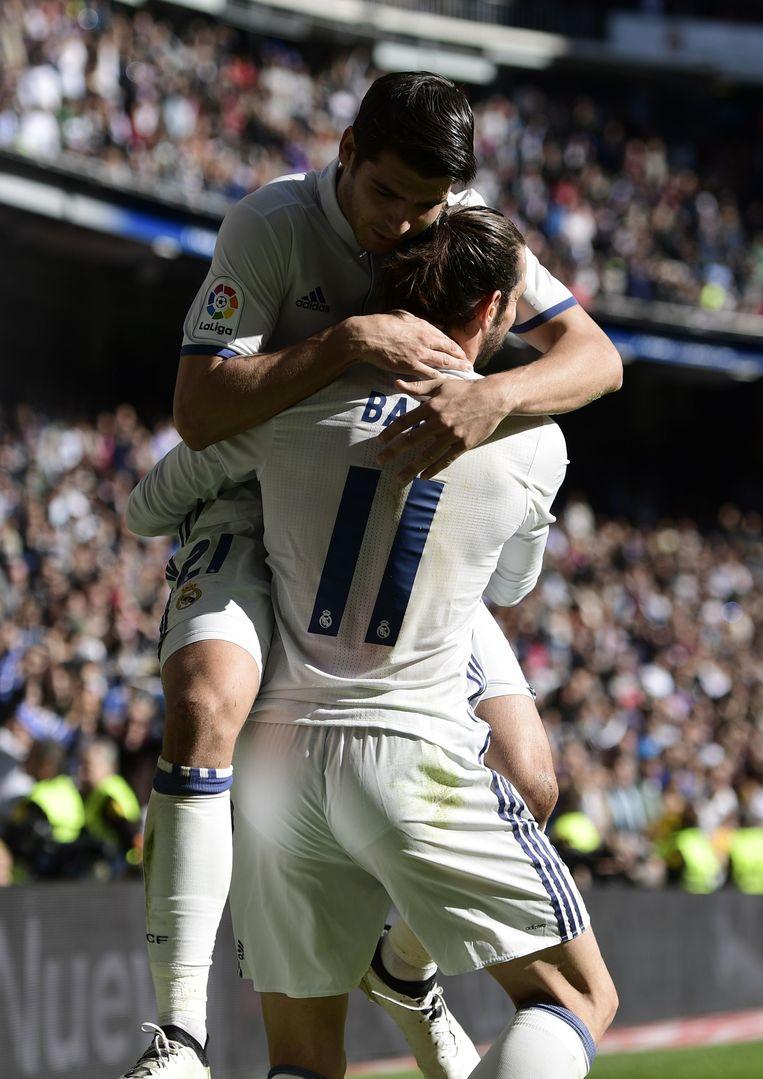 Morata feliciteert zijn scorende ploegmaat Bale Beeld AFP