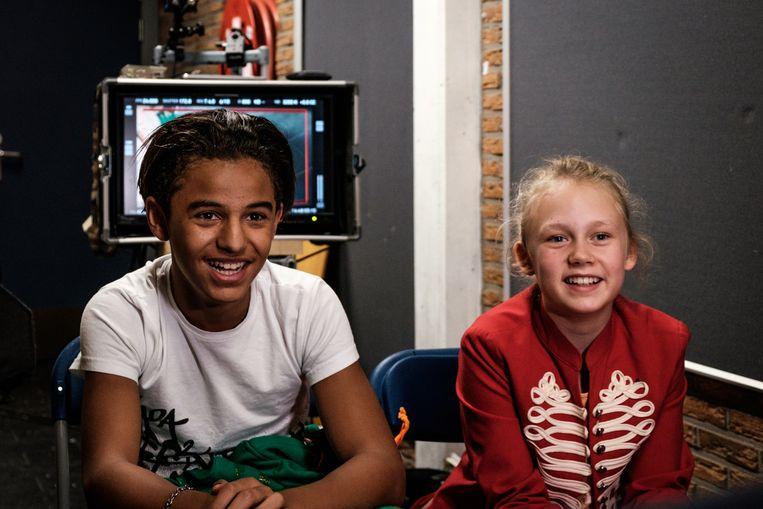 Imad Borji(13) en Savannah Vandendriessche (11) vertolken de hoofdrollen in de 'vanzelfsprekend' diverse cast.  Beeld Alexander D'Hiet