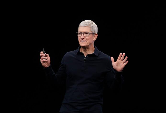 Tim Cook lors de la conférence annuelle d'Apple.