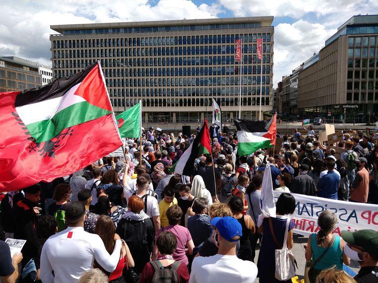 De betoging op het Troonplein. Beeld BELGA