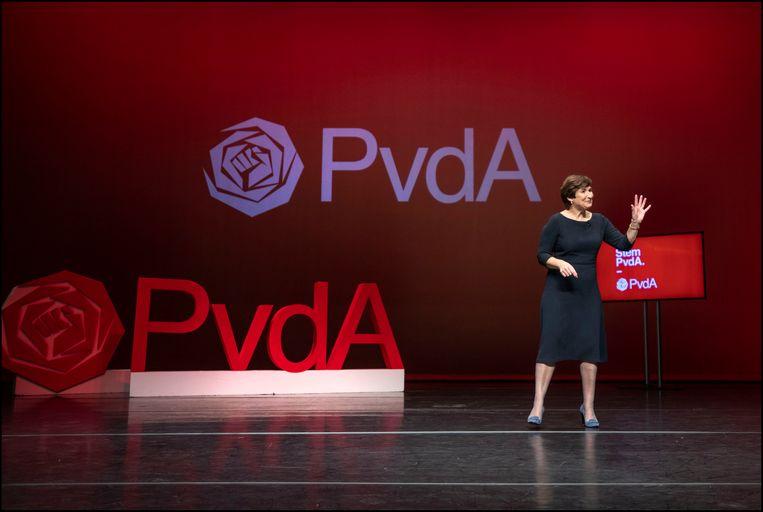 In Amsterdam is Lilianne Ploumen maandag voorgesteld als kandidaat-lijsttrekker voor de PvdA bij de komende Tweede Kamerverkiezingen van 17 maart.  Beeld Werry Crone