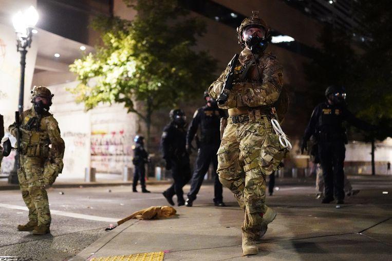 De federale ordetroepen in Portland. Beeld Getty Images