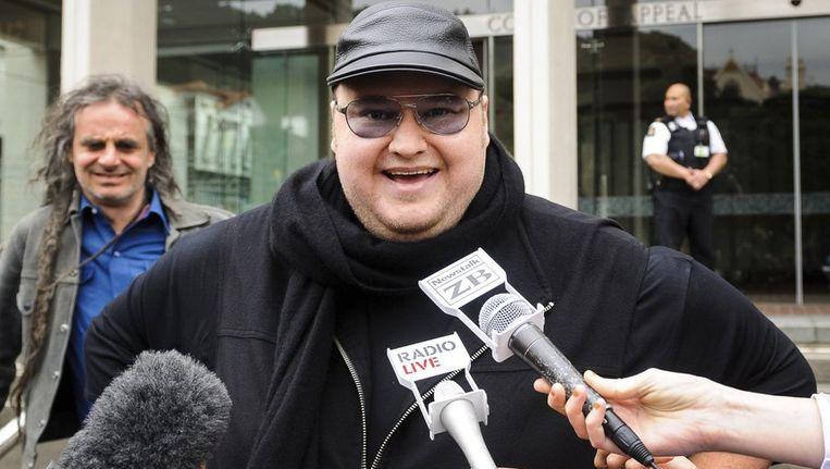 Megaupload-oprichter Kim Dotcom vorige week bij het Hof van Beroep in de Nieuw-Zeelandse hoofdstad Wellington. Beeld reuters