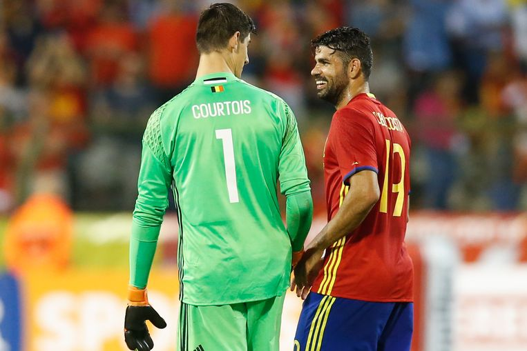 Belgium's goalkeeper Thibaut Courtois and Spain's Diego Costa pictured after a friendly match between Belgian national soccer team Red Devils and Spain, on Thursday 01 September 2016, in Brussels. BELGA PHOTO BRUNO FAHY Beeld null