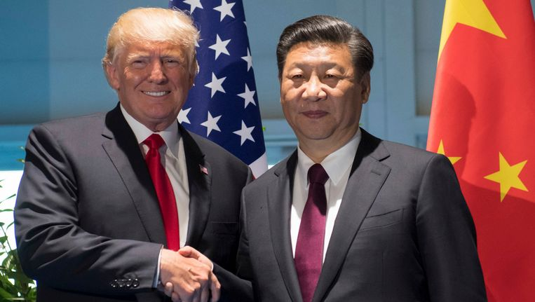 Donald Trump en zijn Chinese collega Xi Jinping. Beeld ap