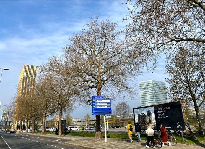 Het 'bouwbord' voor woon- en werkcomplex EDGE Eindhoven aan de Stationsweg staat er al.