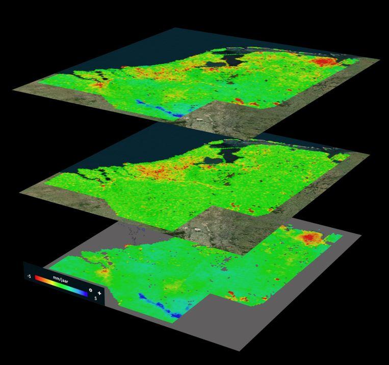 De bodemdaling in Nederland: de bovenste kaart geeft de totale verzakking aan in geel en rood, de blauwe streep is waar de bodem juist stijgt. De middelste kaart geeft de daling in de toplaag van de bodem aan, op de onderste is de verzakking in diepere bodemlagen te zien. Beeld TU delft