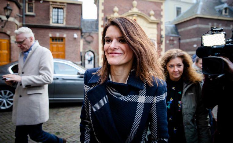 Staatssecretaris Barbara Visser van Defensie (VVD) arriveert op het Binnenhof voor de wekelijkse ministerraad. Beeld ANP