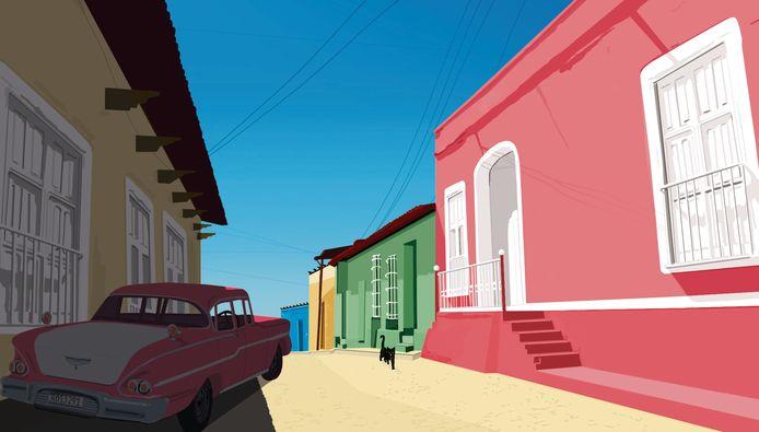 Onheilspellende taxirit in het Cubaanse stadje Trinidad.