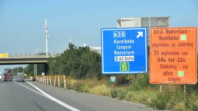 Afrit Roeselare op E403 richting Brugge zaterdag dicht voor werken