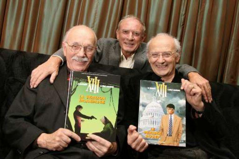Tekenaar William Vance (l.), scenarist Jean Van Hamme (m.) en de Franse tekenaar Jean Giraud (r.).  Beeld