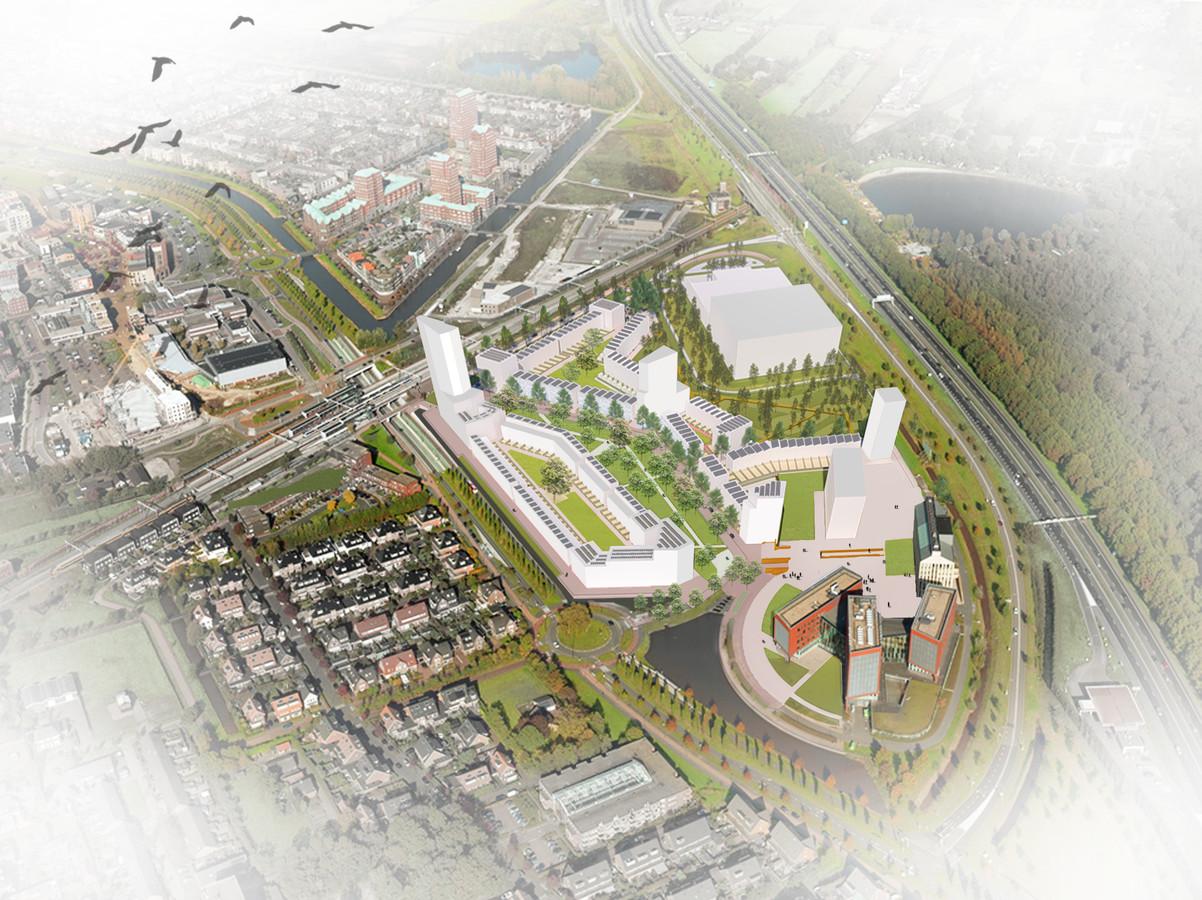 Artist's impression van de nieuwe woonwijk op de locatie Podium in Vathorst.