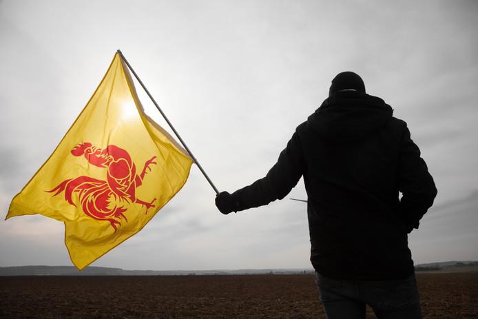 Un homme est photographié portant un drapeau du coq Wallon à Gerpinnes