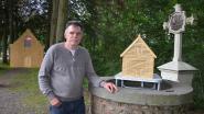 """Pascal bouwt houten replica van Kruiskapel: """"Demonteerbare bar voor concerten"""""""