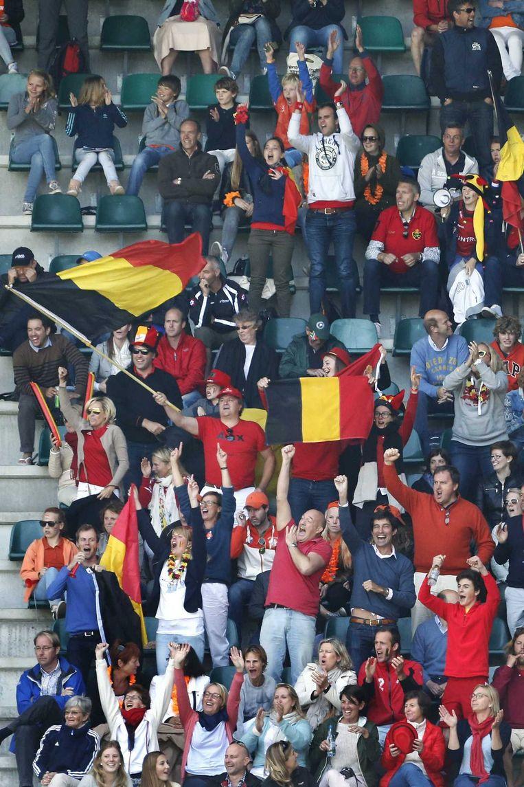 De Belgische fans waren talrijk aanwezig Beeld ANP